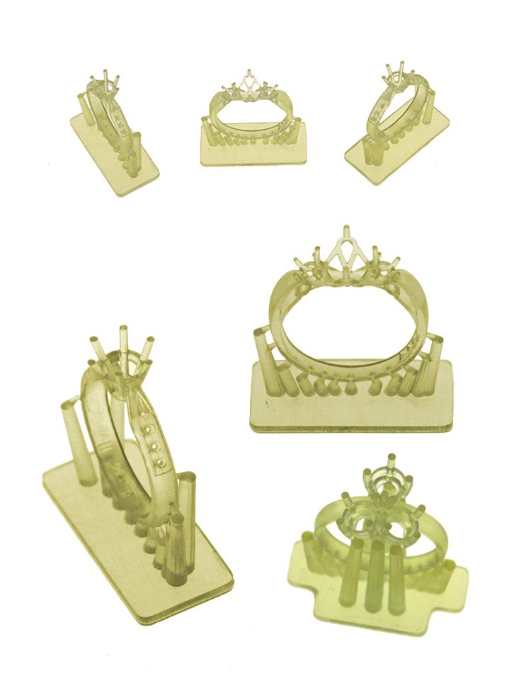 3D BUSINESS D7 DLP. Esempio di stampa prototipi gioielli